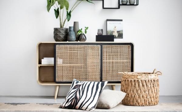 Dea cabinet decorated with fine home decor