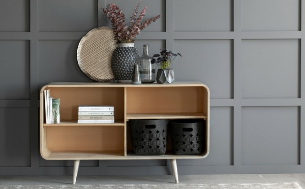 Lene Bjerre wood cabinet decorated with home decor