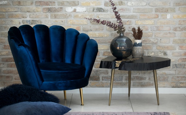 Lene Bjerre soft velour chair and a natural black wood table