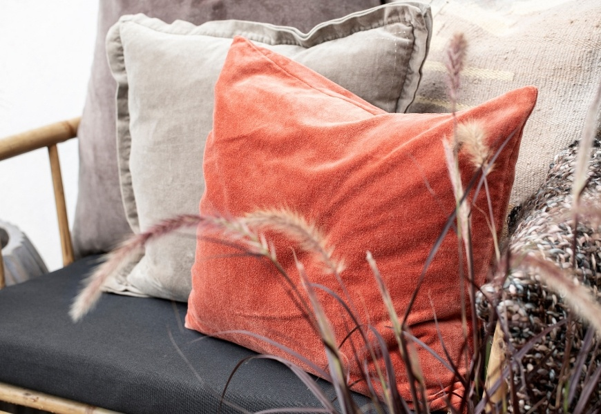 Lene Bjerre cushions in earthy tones and warm neutrals