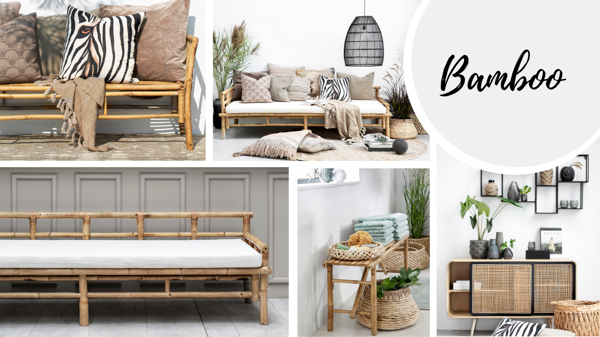 Bamboo collage with different furniture settings.