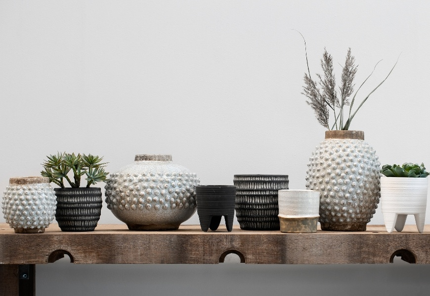 Flowerpots and vases designed with tactile surfaces