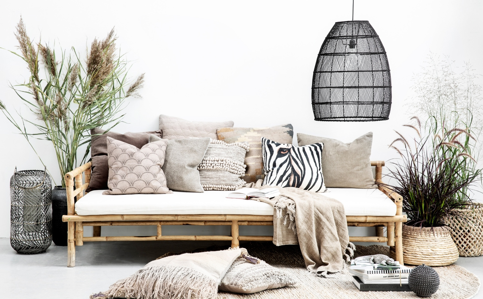 Lene Bjerre bamboo daybed with grey and brown coloured cushions