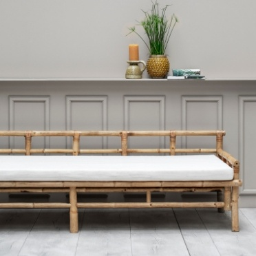 Bamboo daybed with white mattress
