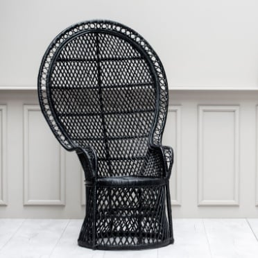 Black peacock chair in front of grey wall