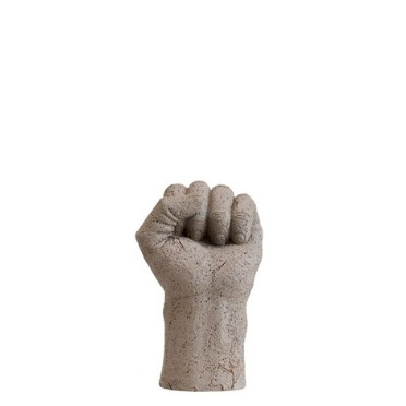 A statue of a grey hand folded with white background