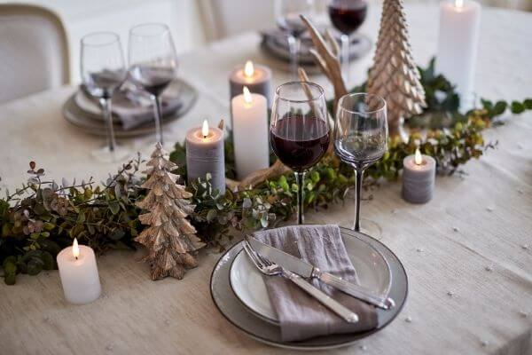Beautiful Christmas dinnner table with soft and warm colors with Lene Bjerre
