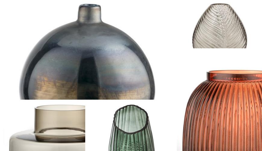 Different types pf modern glass vases