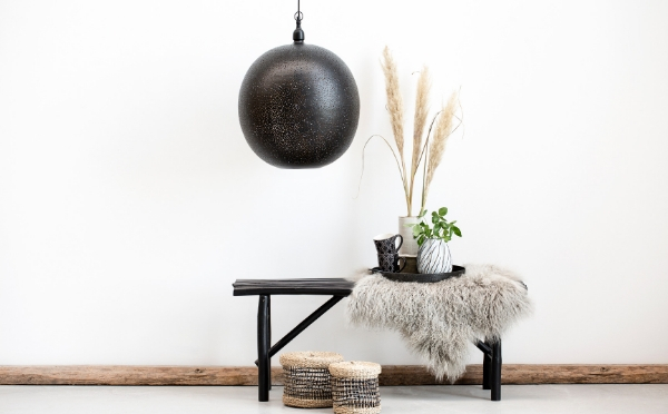 Lene Bjerre lamp and bench decorated with home decor