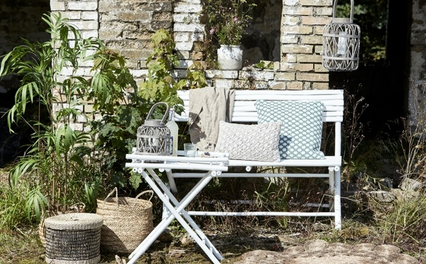 White outdoor bamboo furniture