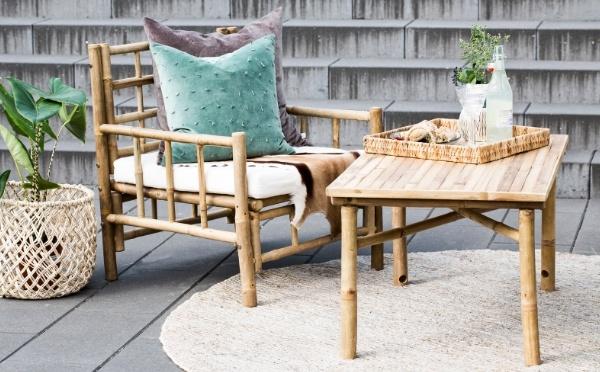 Lene Bjerre Mandisa Bambus Tisch und Stuhl mit Kissen