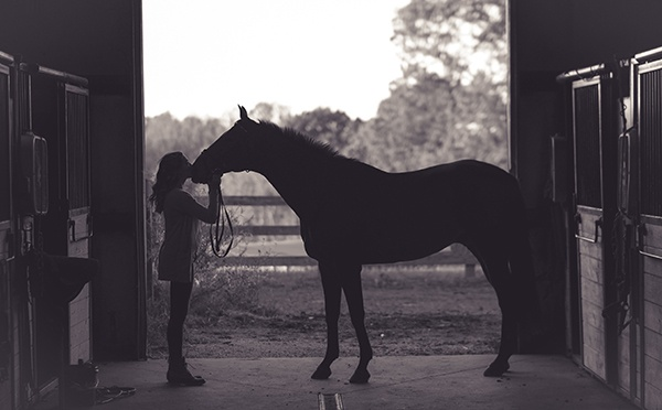 Lady with her horse in stable