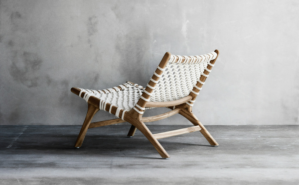 Lene Bjerre teak wood chair with macrame white cotton