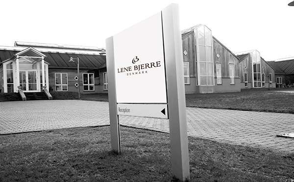The Lene Bjerre head office entrance and a Lene Bjerre sign in front